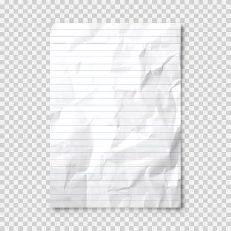 Realistic blank crumpled paper sheet in A4 format on transparent background. Notebook page, document. Design template or mockup. Vector illustration.