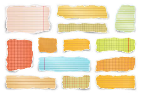 Ripped colorful paper strips. Realistic crumpled paper scraps with torn edges. Lined shreds of notebook pages. Vector illustration. Illustration