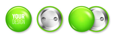 Realistic green blank badge isolated on white background. Glossy 3D round button. Pin badge, brooch mockup for product promotion and advertising. Vector illustration.