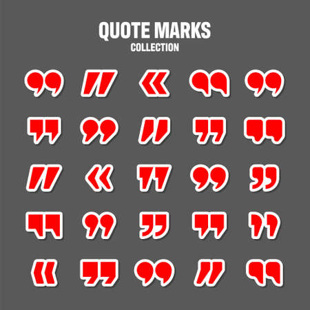 Quotation marks vector collection. Red quotes icon. Colorful stickers collection. Speech mark symbol. Illustration