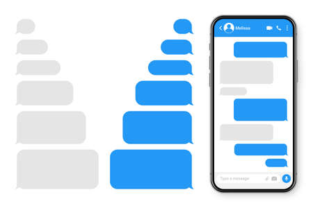 Realistic smartphone with messaging app. Blank SMS text frame. Messenger chat screen with blue message bubbles. Social media application. Vector illustration. Illustration