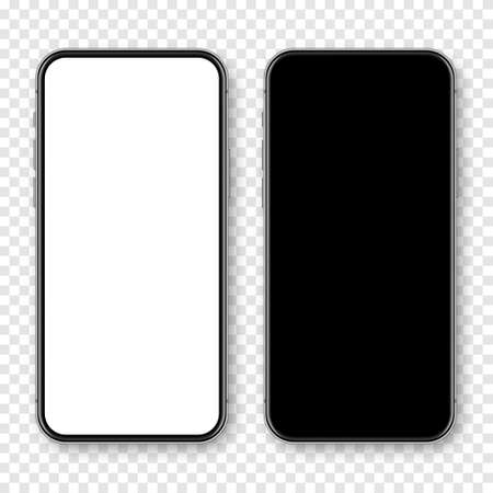Realistic smartphone with blank touch screen on checkered background. Frameless mobile phone in front view. High quality detailed device mockup. Vector illustration. Illustration