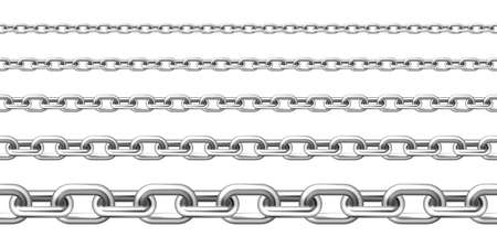 Realistic seamless metal chain with silver links isolated on white background. Vector illustration.