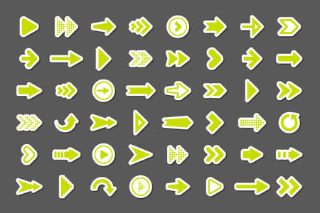 Colorful arrow stickers set. Green cursor icons, pointers collection. Simple arrows in different shapes. Next, back web signs. Vector illustration.