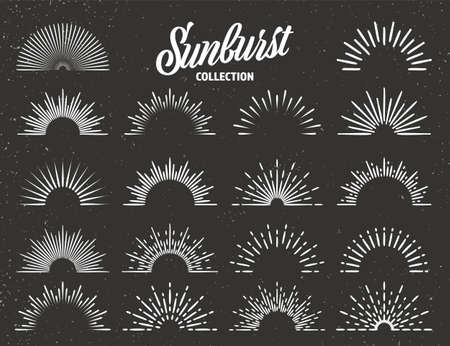 Vintage grunge sunburst collection. Bursting sun rays. Fireworks. Logotype or lettering design element. Radial sunset beams. Vector illustration.