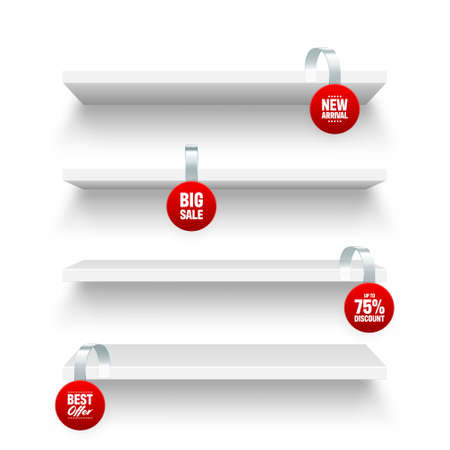 Store shelves and supermarket promotional wobblers isolated on white background. Product shelf with advertising wobbler. Grocery wall rack. Sale or discount price tag. Vector illustration. Illustration