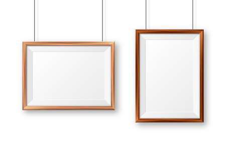 Realistic wooden picture frames with shadow isolated on white background. Hanging on a wall blank poster mockup. Empty photo frame. Vector illustration. Illustration