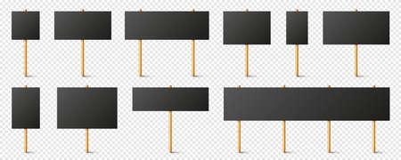 Blank black protest signs with wooden holder. Realistic vector demonstration banner. Strike action cardboard placard mockup. Illustration