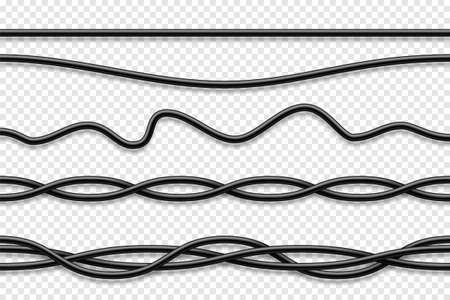 Flexible cables collection. Black electrical wire. Realistic power or network cable. Vector illustration. Illustration