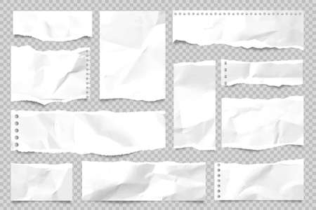 Ripped paper strips isolated on transparent background. Realistic crumpled paper scraps with torn edges. Sticky notes, shreds of notebook pages. Vector illustration.