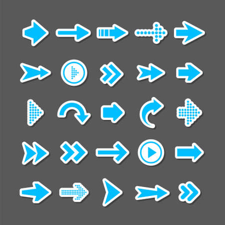 Colorful arrow stickers set. Blue cursor icons, pointers collection. Simple arrows in different shapes. Next, back web signs. Vector illustration.