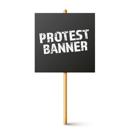 Blank black protest sign with wooden holder. Realistic vector demonstration banner. Strike action cardboard placard mockup. Illustration