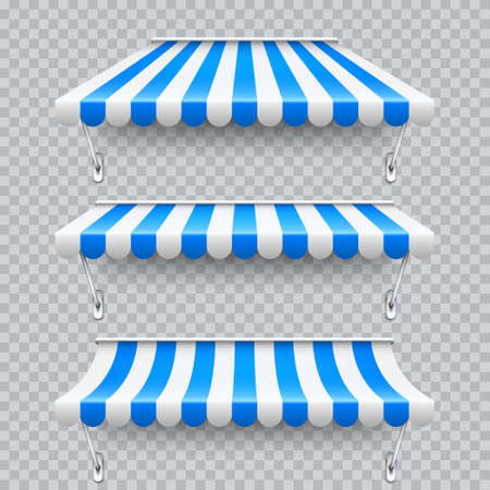 Shop sunshade with metal mount. Realistic blue striped cafe awning. Outdoor market tent. Roof canopy. Summer street store. Vector illustration.