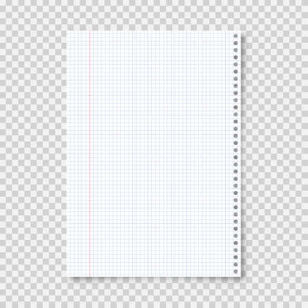 Realistic blank lined paper sheet in A4 format on transparent background. Notebook page, document. Design template or mockup. Vector illustration. Illustration