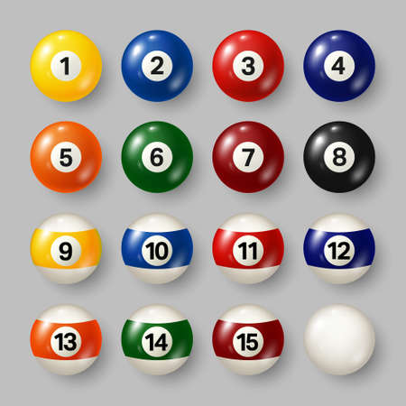 Colorful billiard, pool balls with numbers on gray background. Realistic glossy snooker ball. Vector illustration. Vektorgrafik