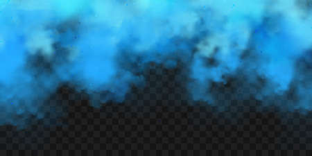 Realistic blue colorful smoke clouds, mist effect. Fog isolated on transparent background. Vapor in air, steam flow. Vector illustration.