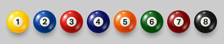 Colorful billiard, pool balls with numbers on gray background. Realistic glossy snooker ball. Vector illustration.