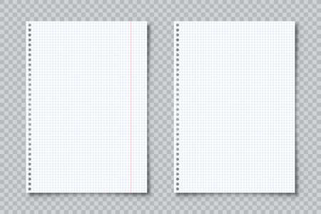 Realistic blank lined paper sheets in A4 format on transparent background. Notebook page, document. Design template or mockup. Vector illustration.