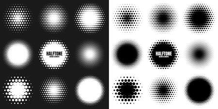 Circle halftone design elements with white dots. Comic dotted pattern.Vector illustration. Illustration