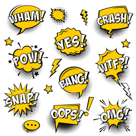 Blank comic speech bubbles with halftone shadows and yellow background. Hand drawn retro cartoon stickers. Pop art style. Vector illustration.