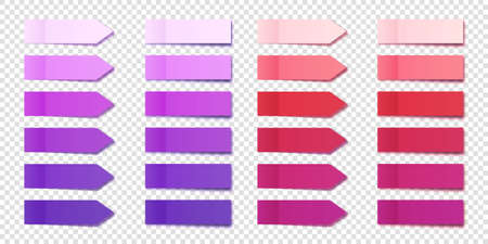 Realistic purple sticky notes collection. Arrow flag tabs. Post note stickers. Colorful sticky paper sheets. Vector illustration.