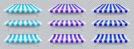 Shop sunshade with metal mount. Realistic blue, violet striped cafe awning. Outdoor market tent. Roof canopy. Summer street store. Vector illustration.