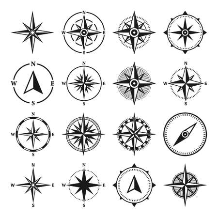 Vintage marine wind rose, nautical chart. Monochrome navigational compass with cardinal directions of North, East, South, West. Geographical position, cartography and navigation. Vector illustration. Vettoriali