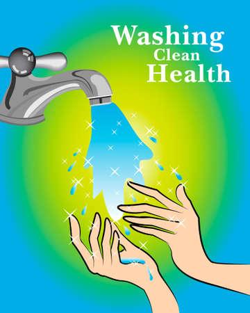 sanificazione: mani di lavaggio per il vettore di salute Vettoriali