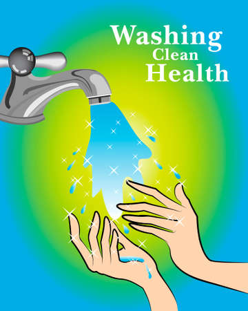 hand wash: washing hands for the health vector