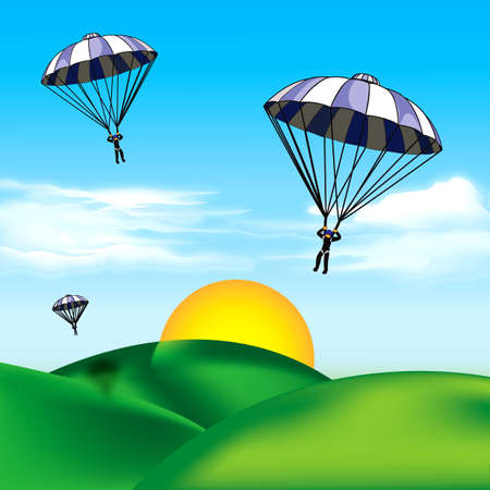 skydive: Paratroopers over the hills