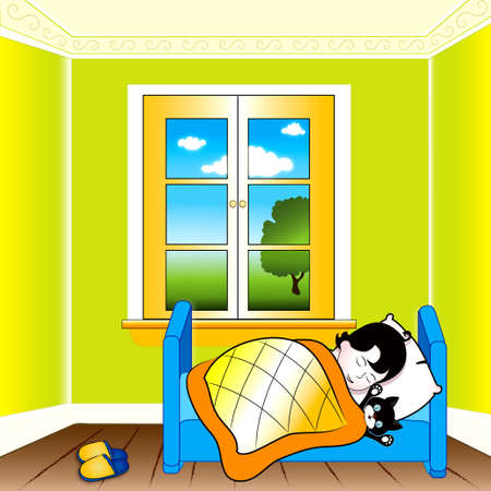 napping: Child sleeping  Illustration