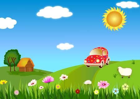 carro caricatura: Viaje al país