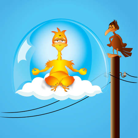 Yogi chicken in levitation above a cloud in a glass bowl Vector