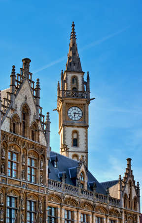 gables: Neo-Gothic Architecture - PostPlaza, Ghent (Gent), Belguim. Old postoffice (Postgebouw), build in 1903, with the neo-Gothic style of the neighboring historic gables. Stock Photo