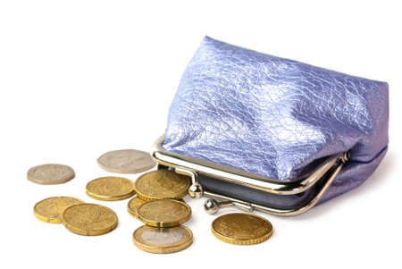 pocket money: Wallet with pocket money (eurocents and british coins) isolated on white background with shadow