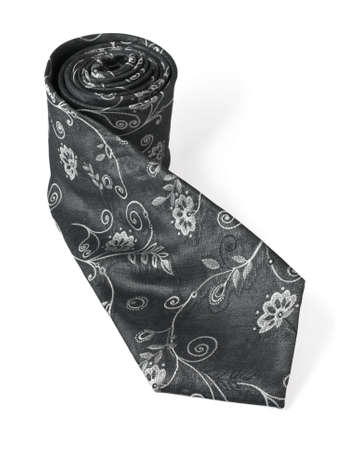 Fashion black silk necktie isolated on white background (clipping path included)