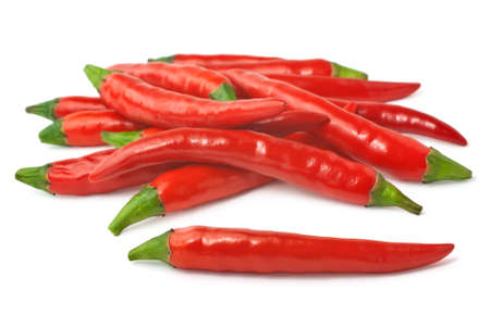 Pile of red hot peppers isolated on white background Stock Photo