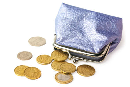 Wallet with pocket money (eurocents and british coins) isolated on white background with shadow