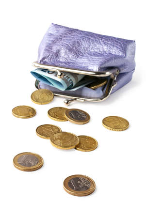Wallet with pocket money (eurocents) isolated on white background with shadow