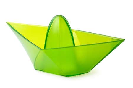 Green transparent lemon juicer  Stock Photo
