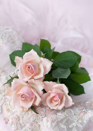 Three pink roses on wedding lace (shallow depth of field, copy space) photo