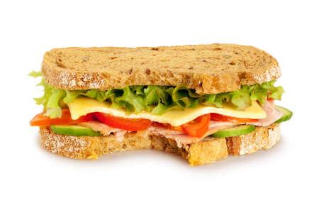 Bitten fresh sandwich  whole grain bread  on white background