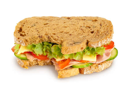 wholemeal: Bitten fresh sandwich  whole grain bread  on white background  Clipping path included Stock Photo