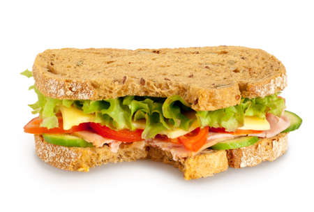 Bitten fresh sandwich  whole grain bread  on white background  Clipping path included Stock Photo