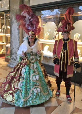 Venise, Italy couple costumed for carnival Stock Photo