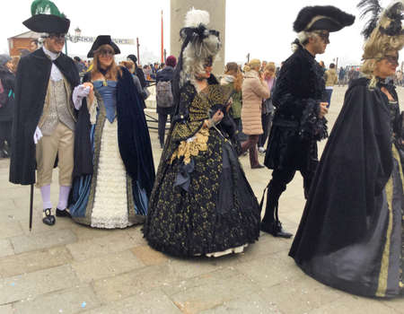 carnival venise, costumed group with masks