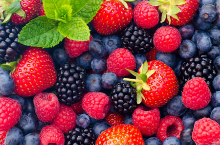 Wild berries (strawberries, blueberries, blackberries, raspberries) - Closeup photo