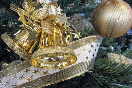 Colorful decorative Christmas ornaments for holidays.
