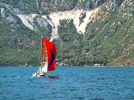 falling tide: Cove Kotor. Montenegro, July 2004.