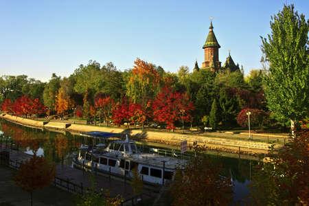 Somewhere along the Bega River, Timisoara, Romania. in October 2011. Фото со стока